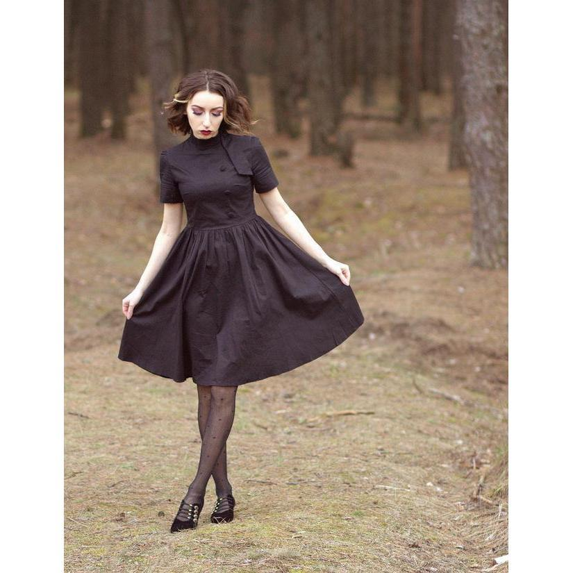 Buttoned Collar Women's Vintage Dress-Black-S-