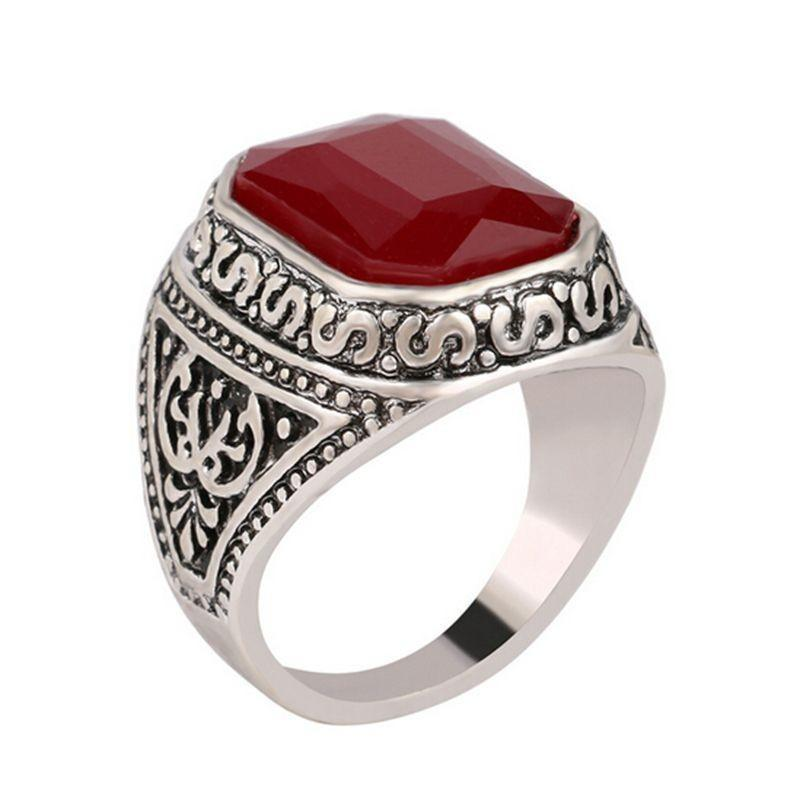 Carved Stone Band-6.5-Red-