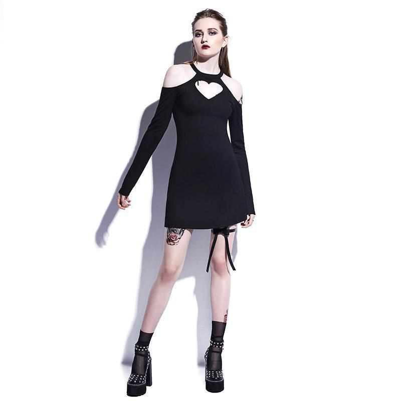 Casual Black Heart-Shaped A Line Mini Dresses-Black-S-