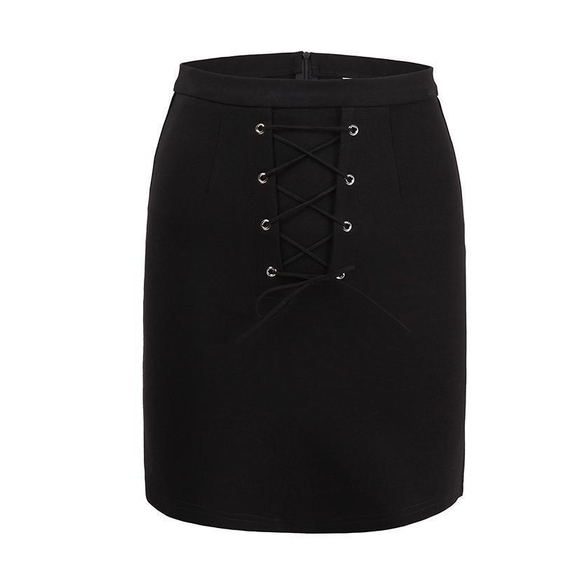 Casual Black Lace-Up Pencil Skirt - The Black Ravens