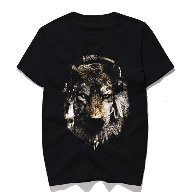 Casual Black Short Sleeve Wolf Top-Black-S-