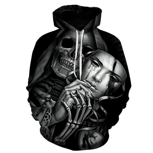 Casual Hooded Tears Of Death Hoodie-Black-XS-