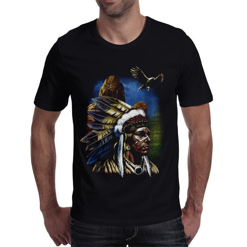 Casual Native American Shaman Black T-Shirt - The Black Ravens