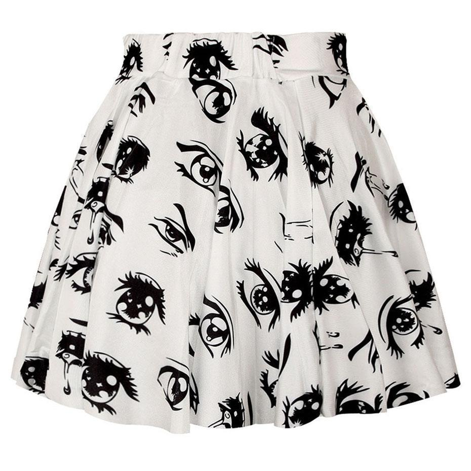 Casual White Eye Pastel Goth Mini Skirt - The Black Ravens