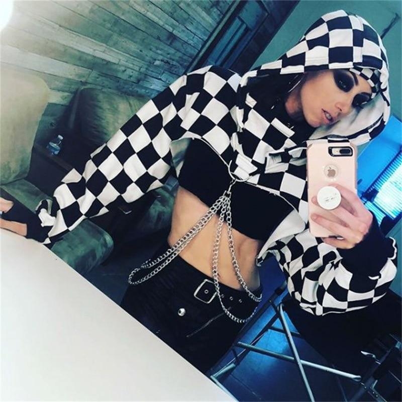 Checkerboard Ladies' Hooded Midriff - The Black Ravens