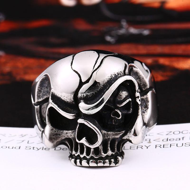 Cheeky Eye Evil Skeleton Head Band-7-Silver-