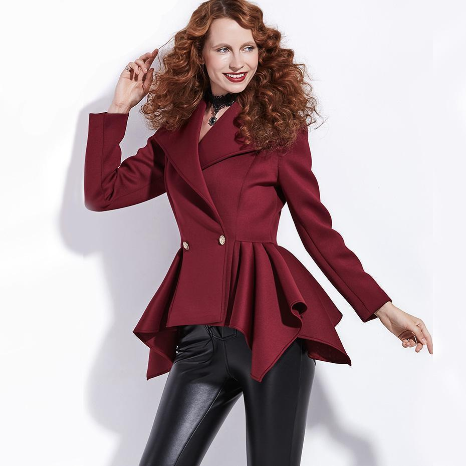 Chic Slim Burgundy Autumn Jacket For Women-Burgundy-S-