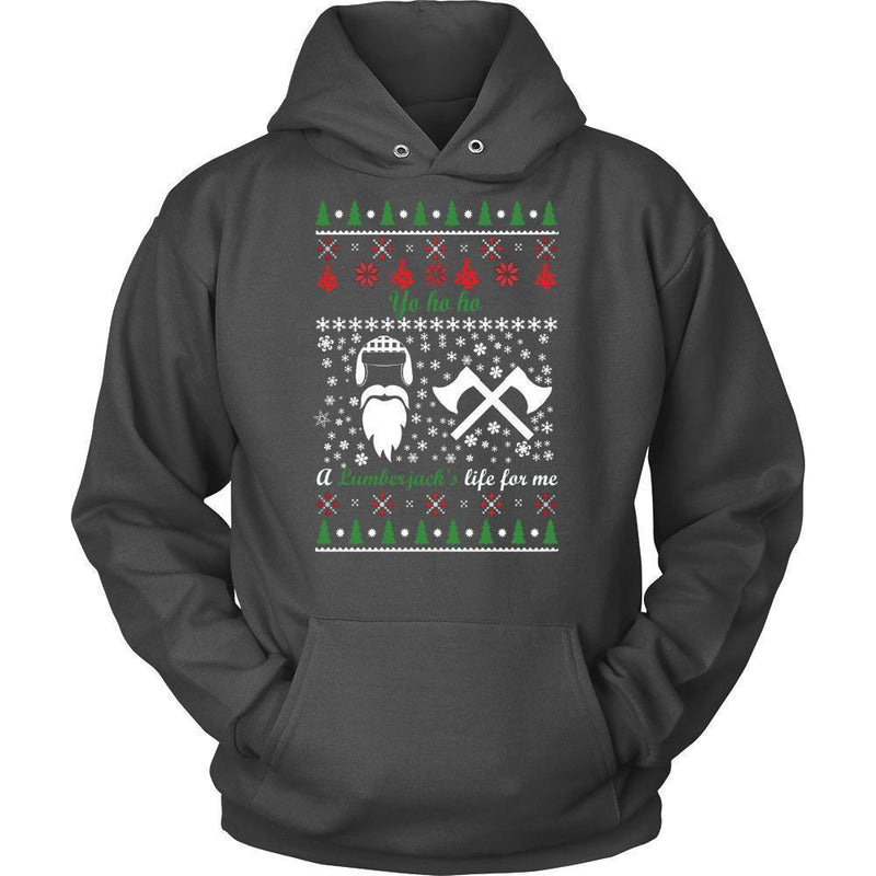 Christmassy Lumberjack Jumper And Hoodie For Men & Women-Unisex Hoodie-Charcoal-S