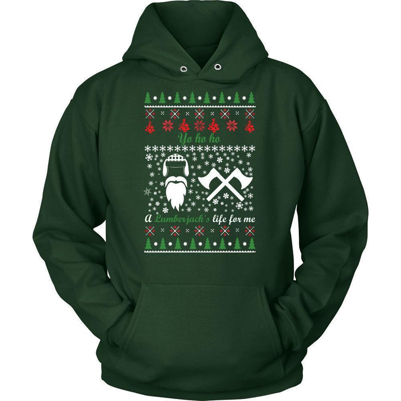 Christmassy Lumberjack Jumper And Hoodie For Men & Women-Unisex Hoodie-Dark Green-S
