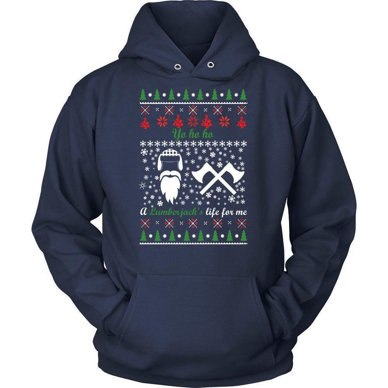 Christmassy Lumberjack Jumper And Hoodie For Men & Women-Unisex Hoodie-Navy-S