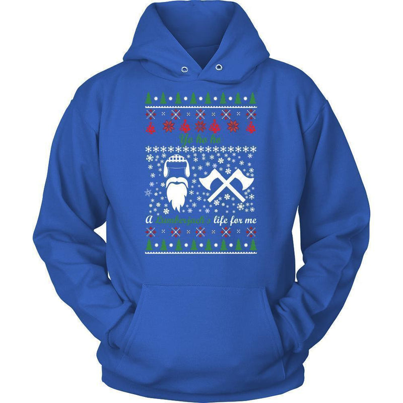 Christmassy Lumberjack Jumper And Hoodie For Men & Women-Unisex Hoodie-Royal Blue-S