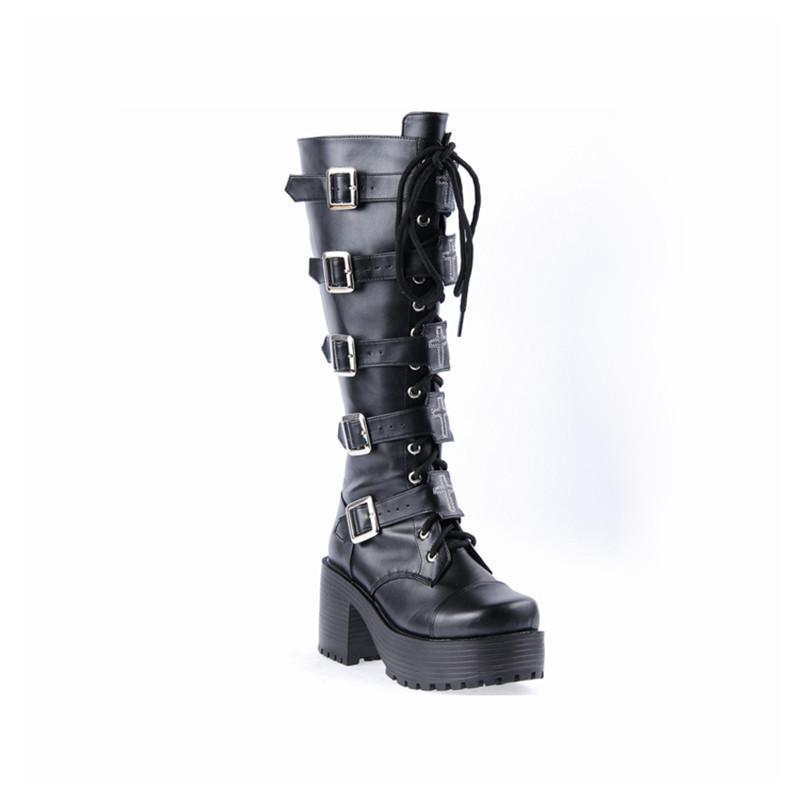 Chunky Gothic Buckle Platform Boots - The Black Ravens