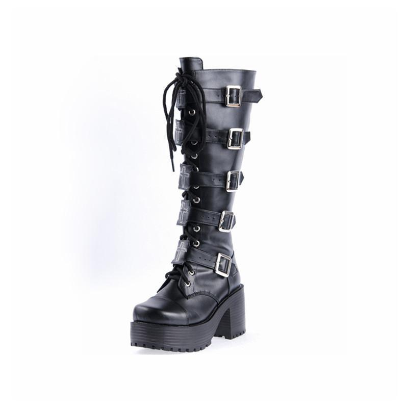 Chunky Gothic Buckle Platform Boots-Black-5-