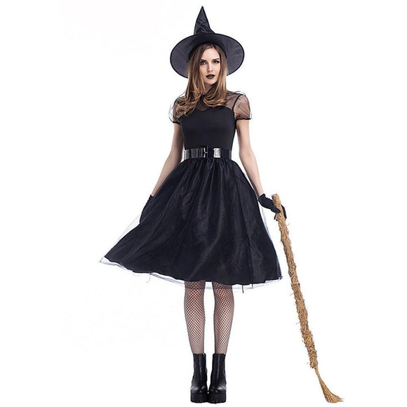 Classic Halloween Gothic Witch Dress Set-M-