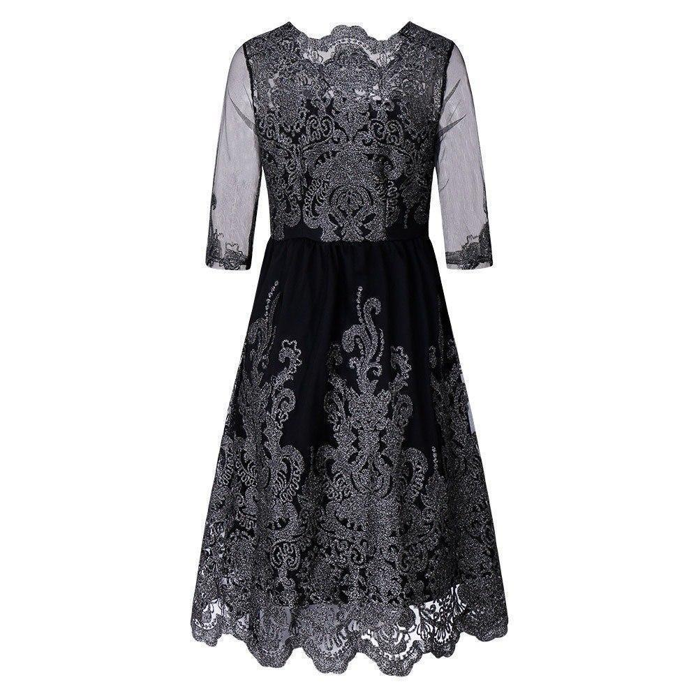 Classic Lace Embroidered Dress - The Black Ravens