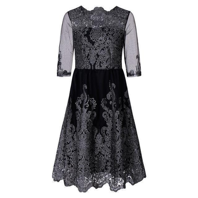 Classic Lace Embroidered Dress-S-