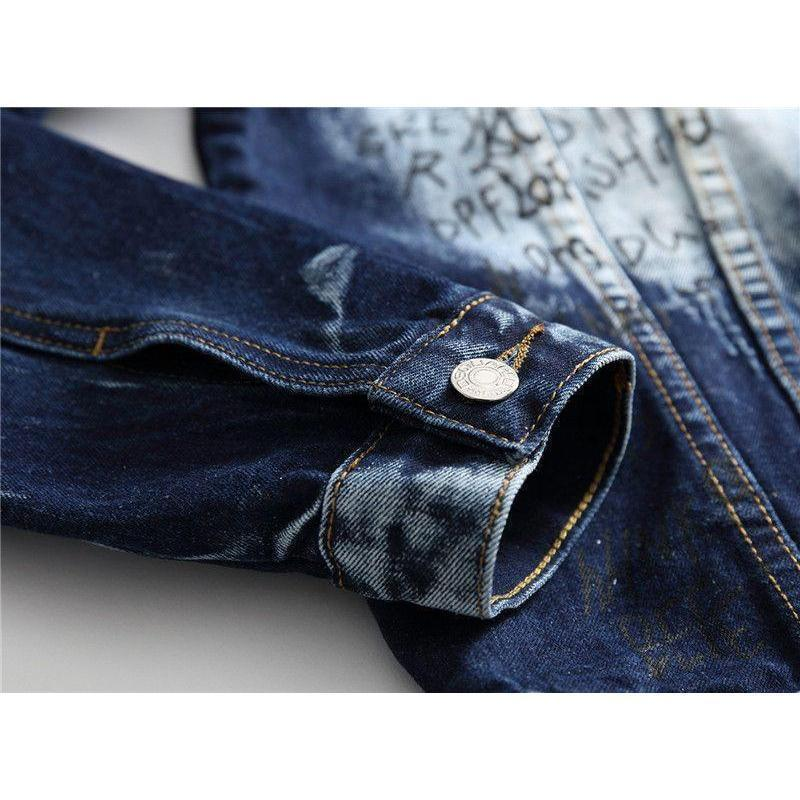 Cloudy American Style Blue Biker Men's Denim Jacket - The Black Ravens