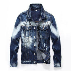 Cloudy American Style Blue Biker Men's Denim Jacket-M-