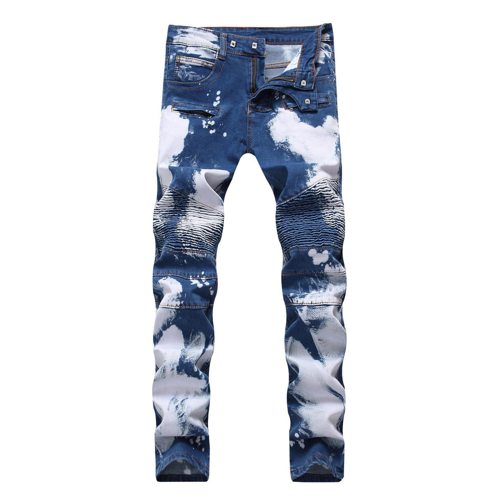 Cloudy Blue Biker Denim Jeans For Men-Blue 2-28-
