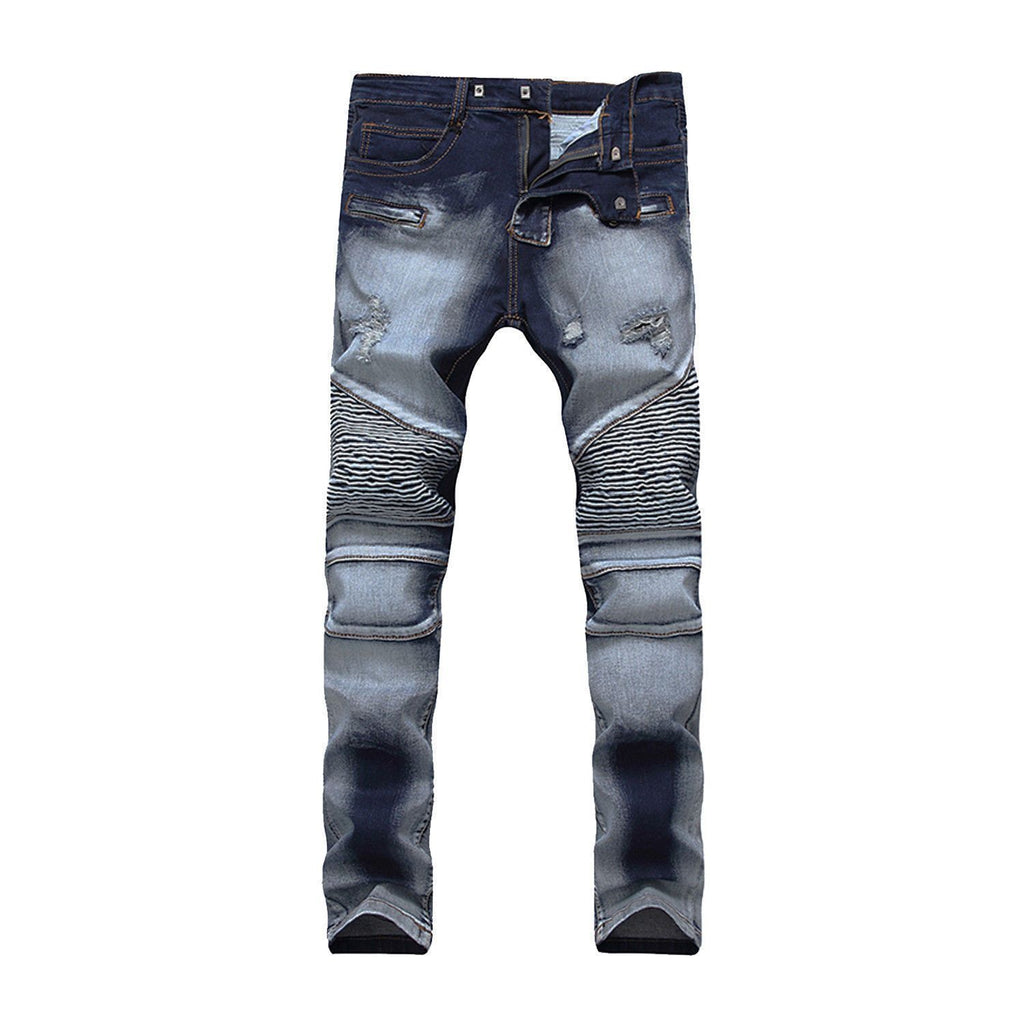Cloudy Blue Biker Denim Jeans For Men-Darkblue-28-