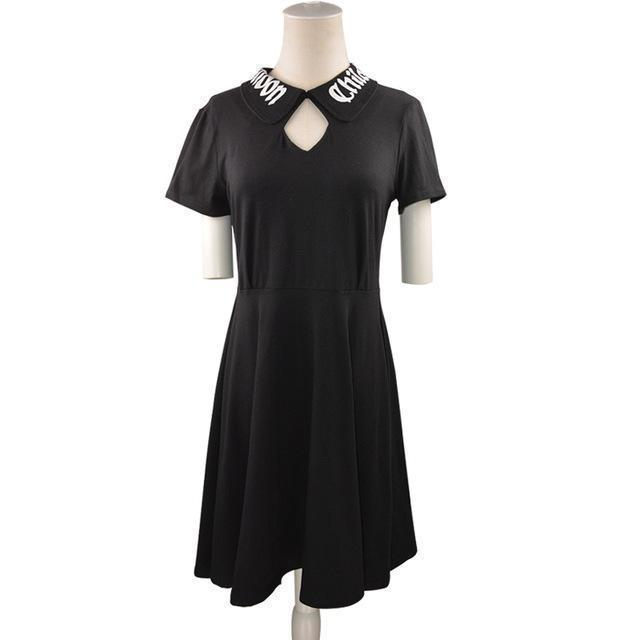 Collared Gothic Vintage Dress-M-