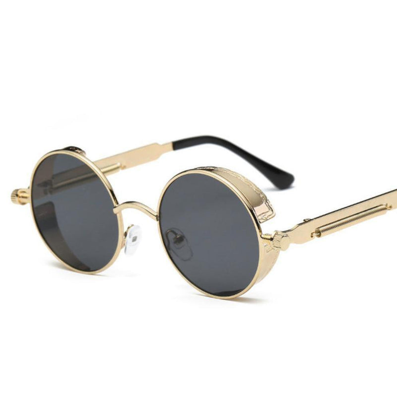 Colored Steam Punk Eye Wear-Gold & Black-