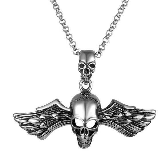 Cool Alternative Guys Skeleton Wings Pendant-