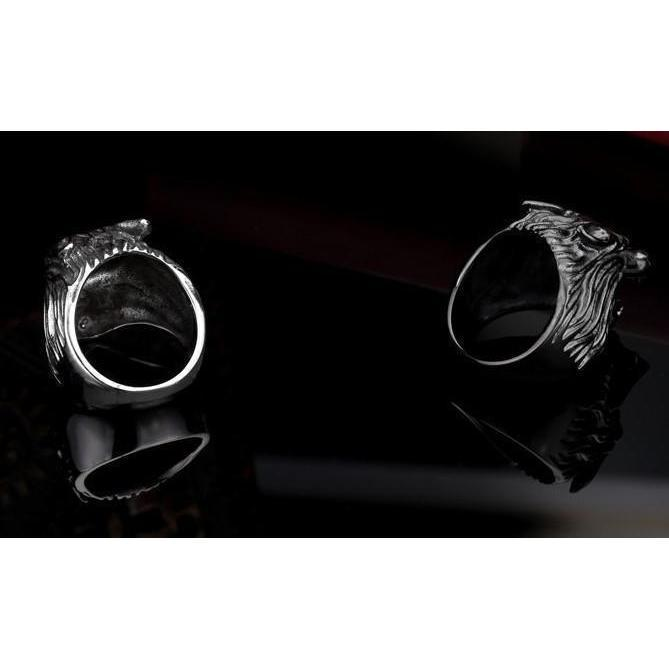 Cool Black, Silver, and Gold Stainless Steel GOT Rings - The Black Ravens