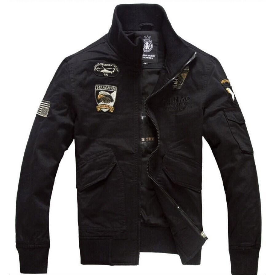 Cool Casual Military Men's Jacket-Black-M-