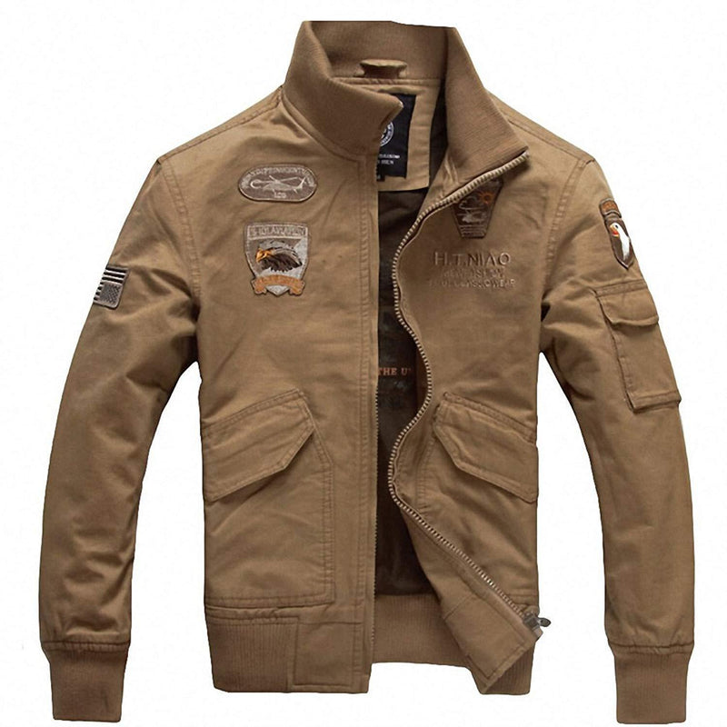 Cool Casual Military Men's Jacket-Khaki-M-