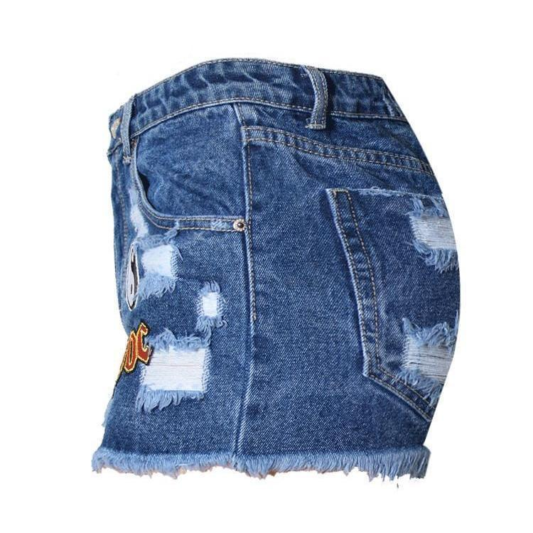 Cool Classic Rock Style Denim Shorts-Blue-0-