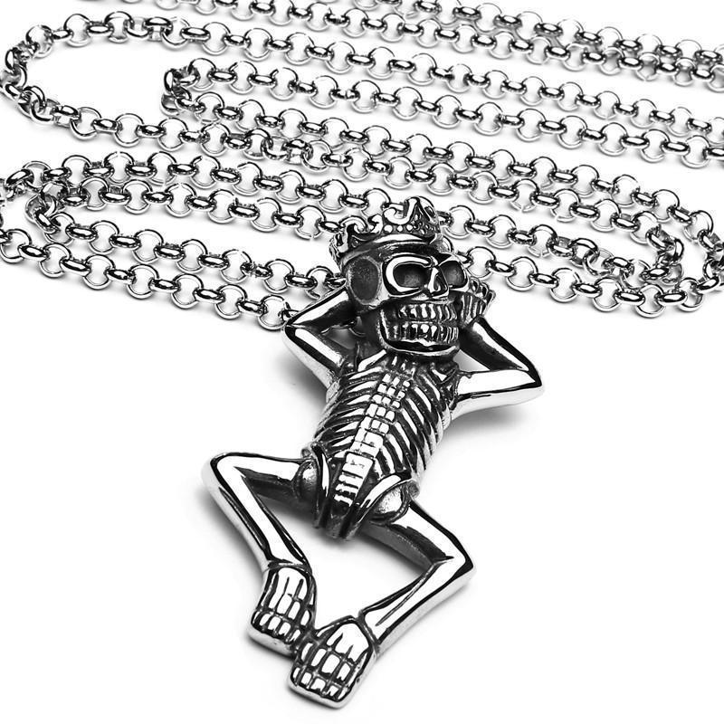 Cool Crowned Skeletons Necklace For Men-