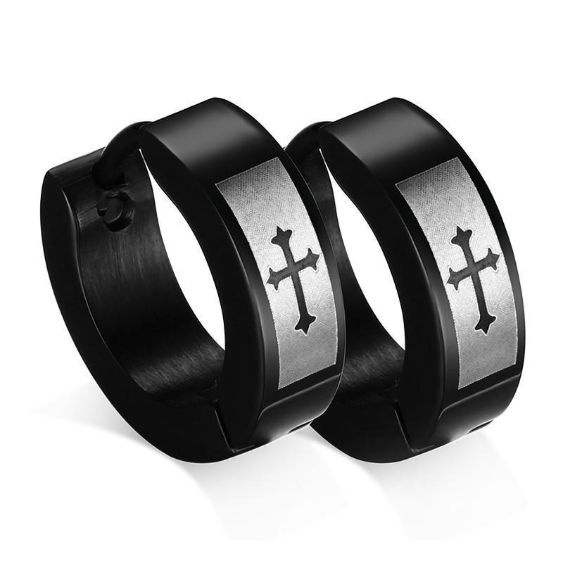 Cool Dark Studs With Crosses For Men - The Black Ravens