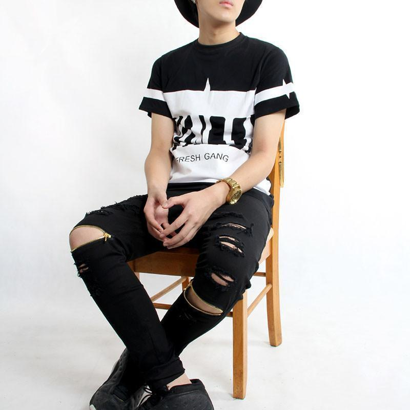 Cool Destroyed Ripped Knee Black And White Jeans For Men-Black-27-