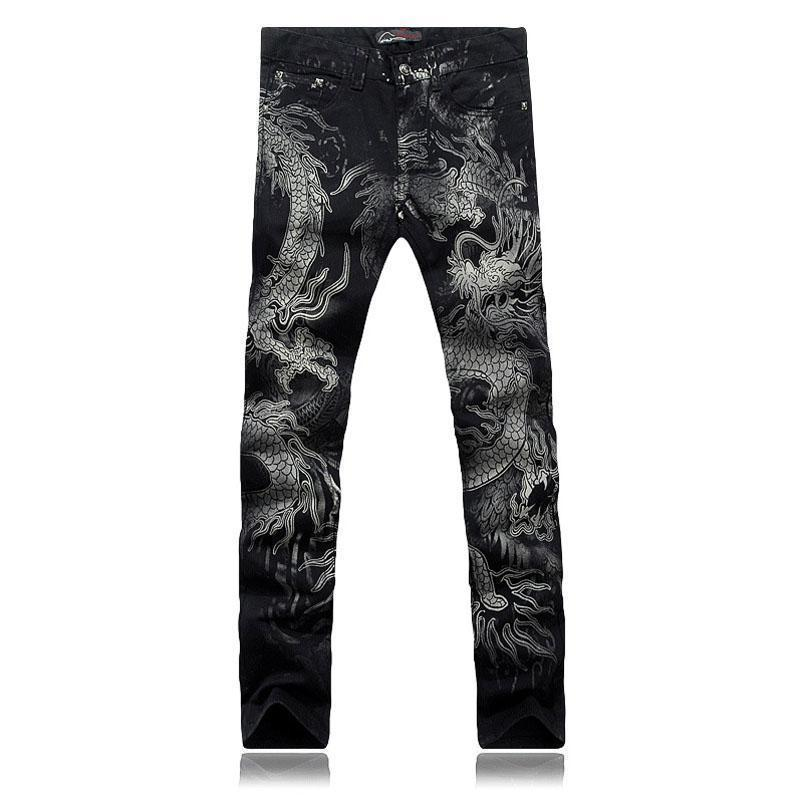 Cool Dragon Printed Black Denim Trousers For Men-Black-28-