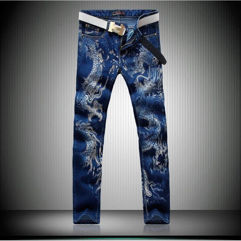 Cool Dragon Printed Black Denim Trousers For Men-Blue-28-