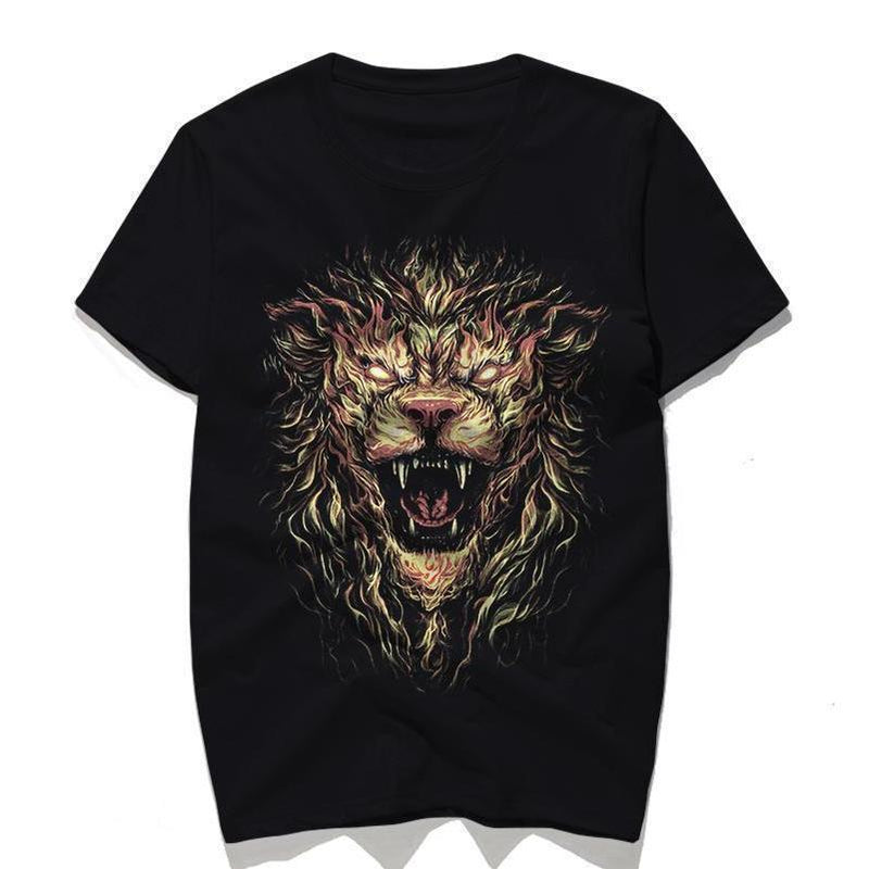 Cool Fire Lion T-Shirt For Bikers-Black-S-