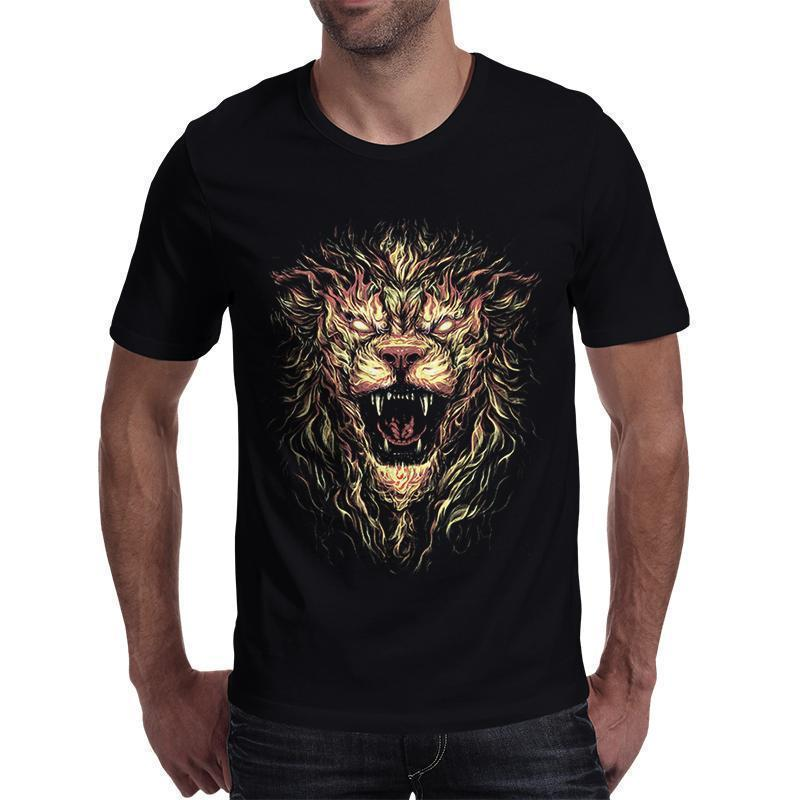 Cool Fire Lion T-Shirt For Bikers - The Black Ravens