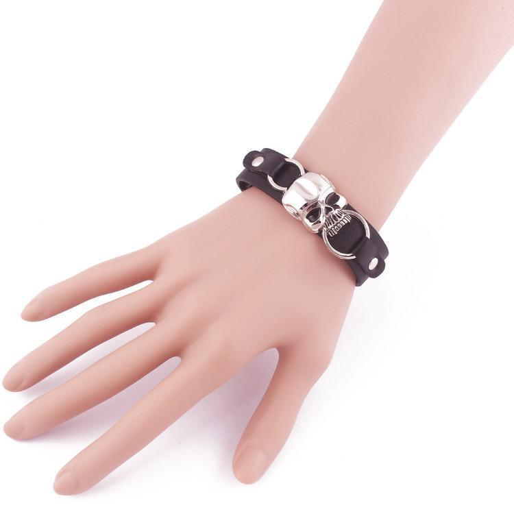 Cool Genuine Cowhide Gothic Bangle - The Black Ravens