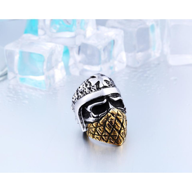Cool Gold Plated Mason Skull Rings - The Black Ravens