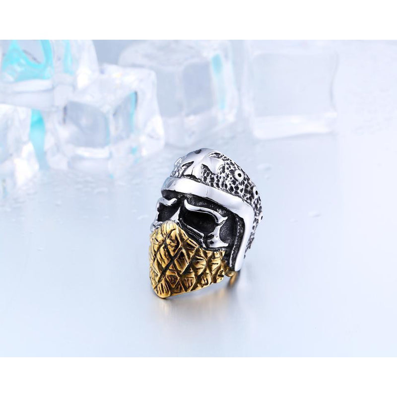 Cool Gold Plated Mason Skull Rings-7-