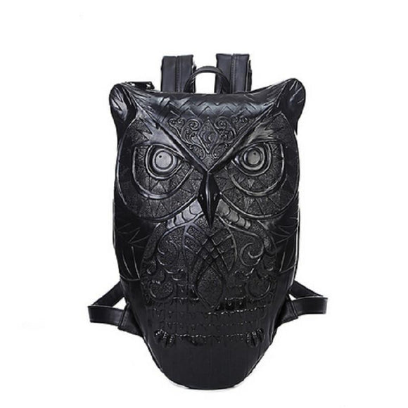 Cool Gothic Owls Rucksack For Ladies-Black-Owl-