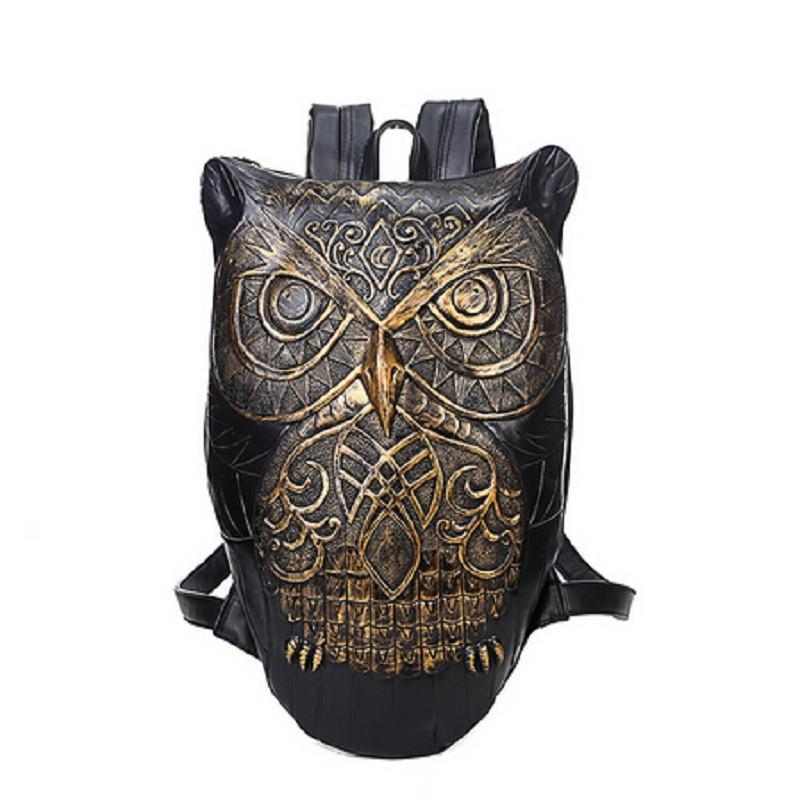 Cool Gothic Owls Rucksack For Ladies-Gold-Owl-