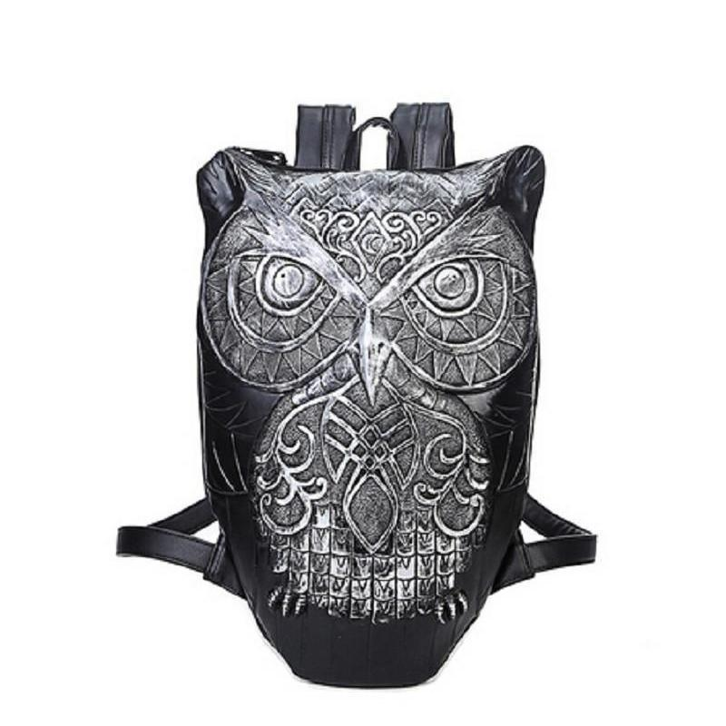 Cool Gothic Owls Rucksack For Ladies-Silver-Owl-