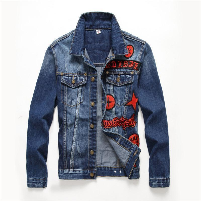 Cool Guys Blue Denim and Red Badge Coat - The Black Ravens