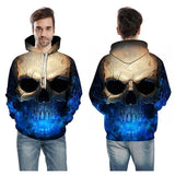 Cool Ice Breath Skull Hoodie-Blue-XS-