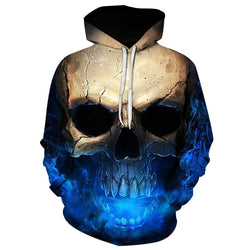 Cool Ice Breath Skull Hoodie-Blue-XXL-