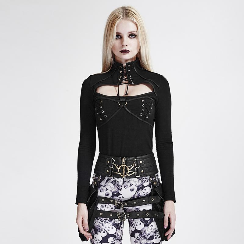 Cool Punk Hollow Chest Close Neck Corset - The Black Ravens