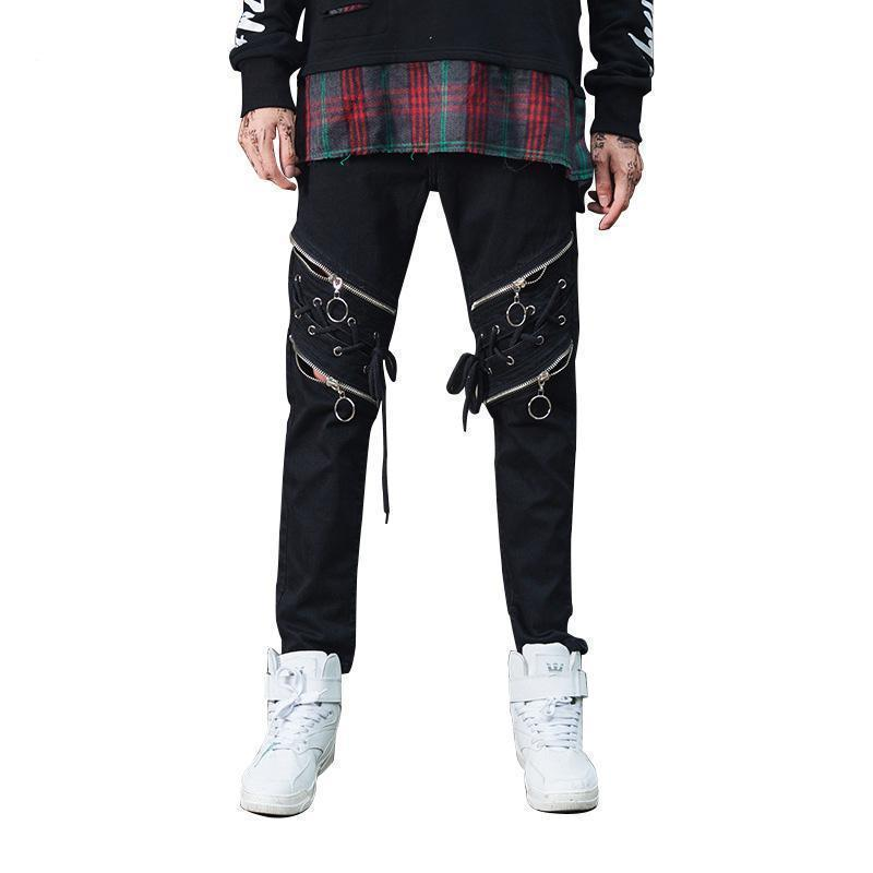 Cool Punk Lace Up Zipper Skinny Jeans - The Black Ravens