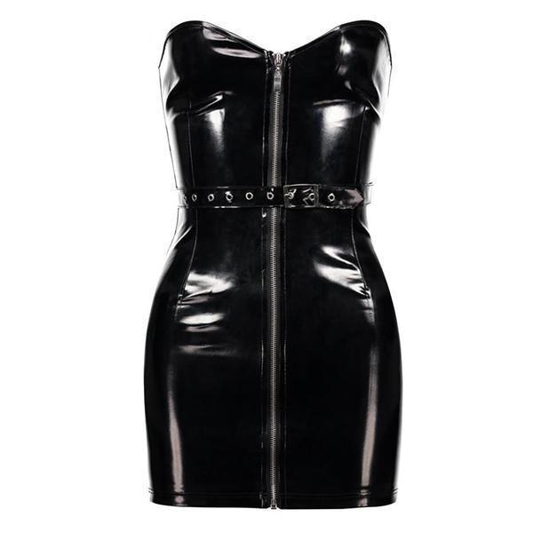 Cool Punk Leather Strapless Bodycon - The Black Ravens